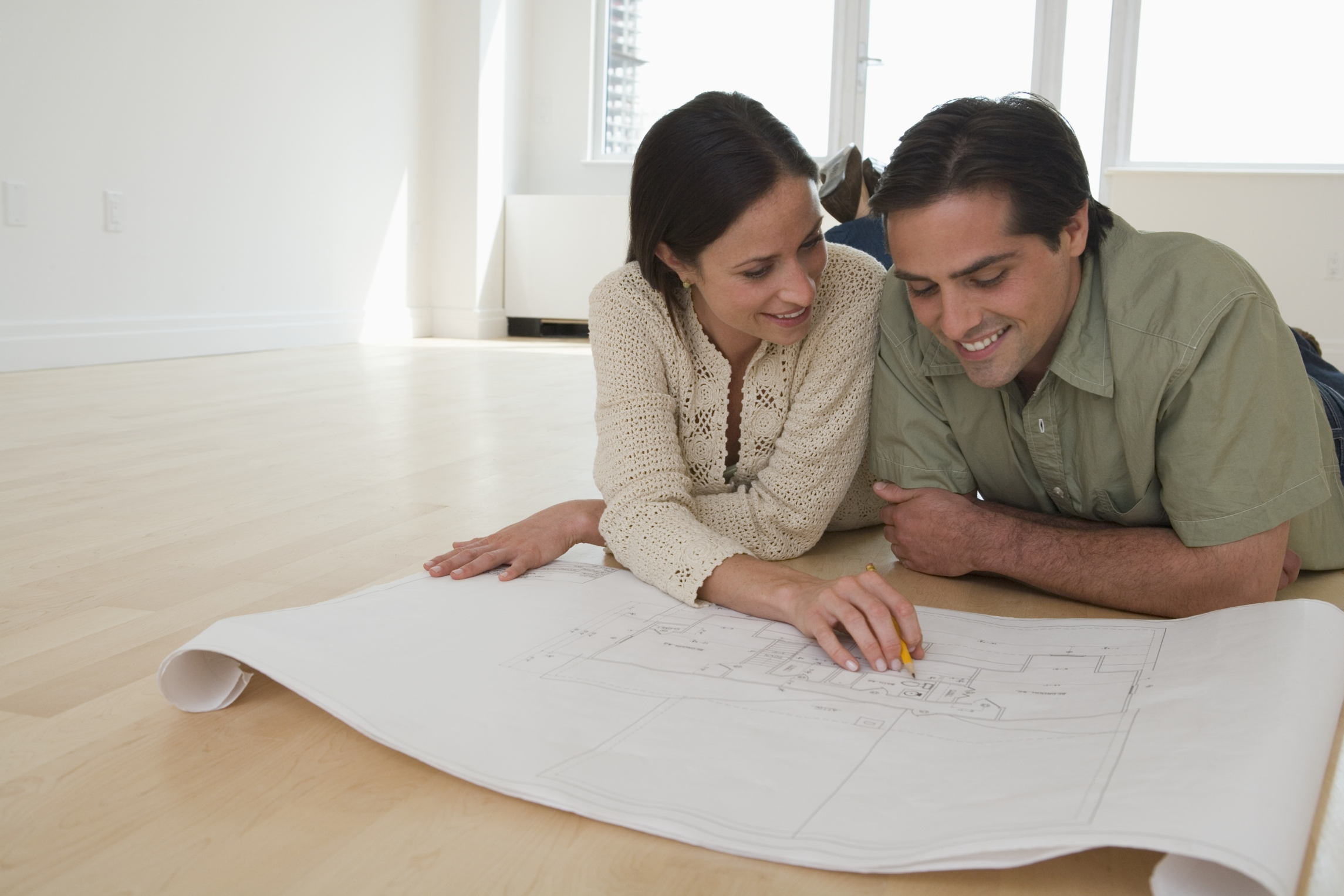 Couple in front of a building drawing