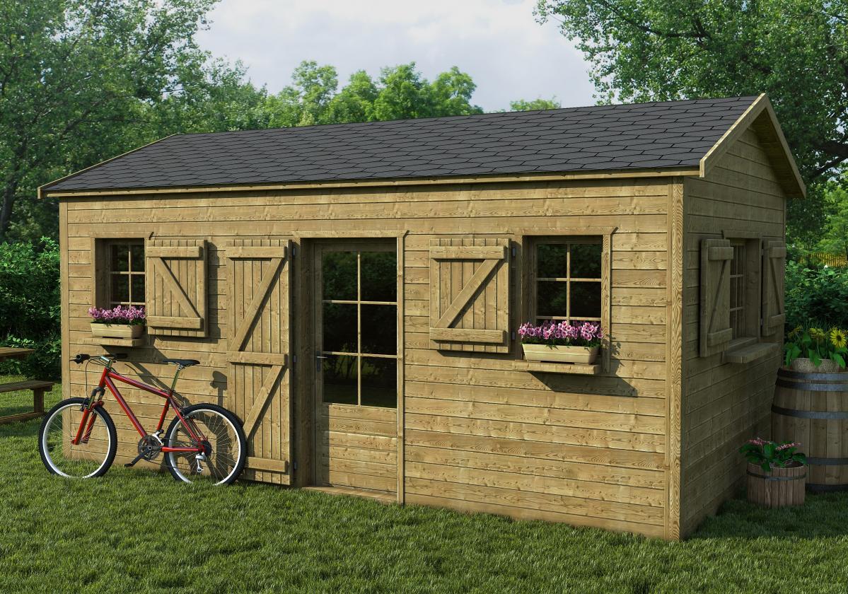 Drvena kućisa sa tamno sivom šindrom Bardoline Classic