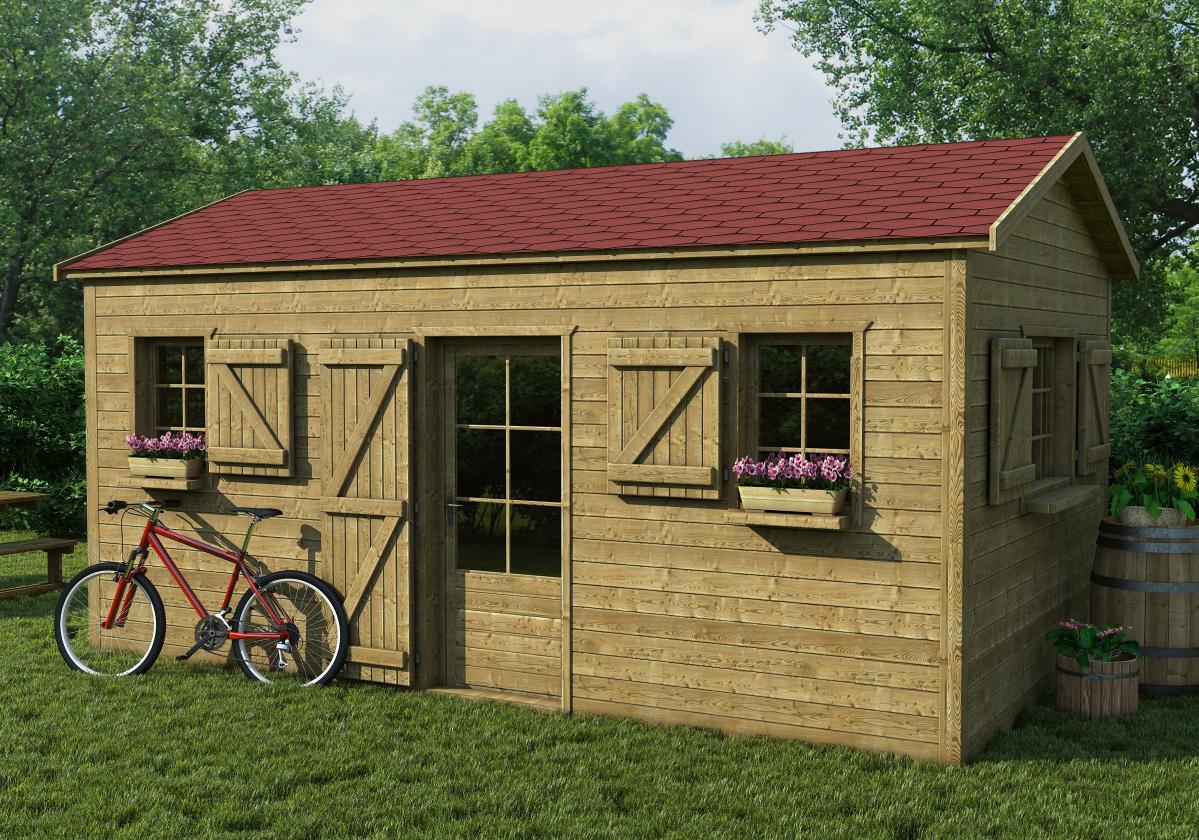Drvena kućica sa crvenom šindrom Bardoline Base